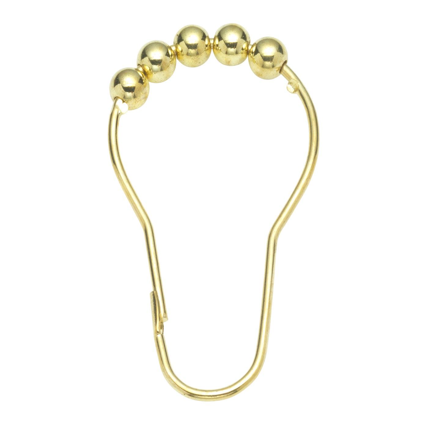 12 Piece Brass Shower Curtain Roller Hooks