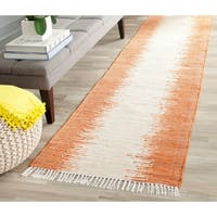 Safavieh Hand-woven Montauk Orange Cotton Rug - 2'3 x 9'