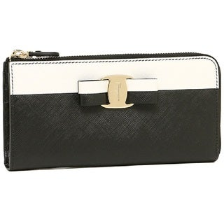 Salvatore Ferragamo Black And White Vara Zip Around Wallet