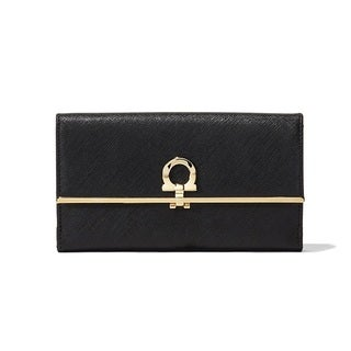 Salvatore Ferragamo Black Leather Gancio Continental Wallet