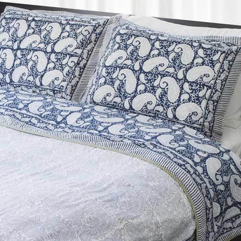 Handmade Dreams in India Blue Paisley King-sized Coverlet Set (India)