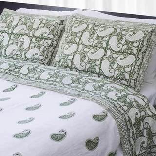 Dreams in India Green Paisley King-sized Cotton Coverlet Set (India)
