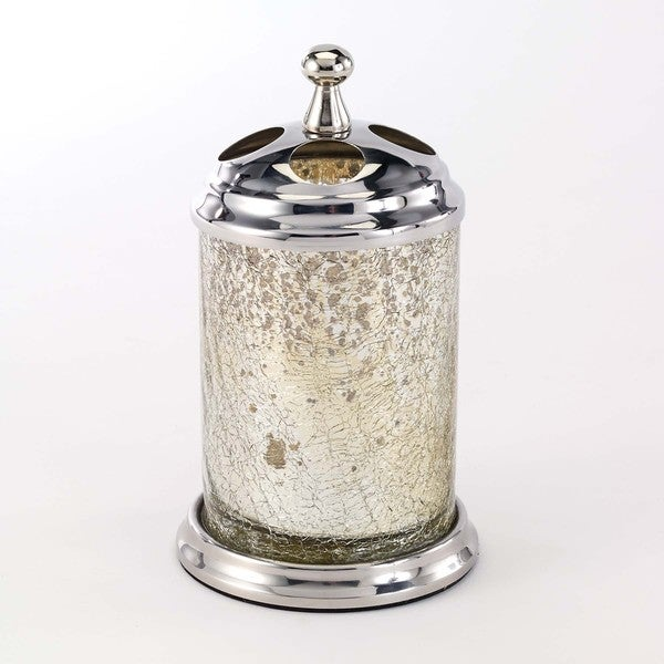 Mercury glass crackle silver toothbrush holder free for Silver crackle glass bathroom accessories