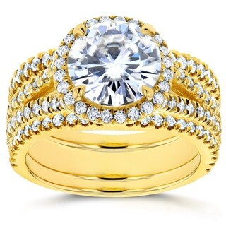 Annello by Kobelli 14k Yellow Gold 2 7/8ct TGW Moissanite (FG) and Diamond (GH) Round Halo Split Shank Rings (3pc Set)