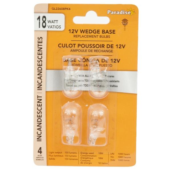 Paradise Incandescent Light Bulb 18 watts Low Voltage Wedge 4 pk