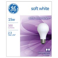 GE Lighting 97491 15 Watt Soft White Standard Incandescent Light Bulb 2 Pack