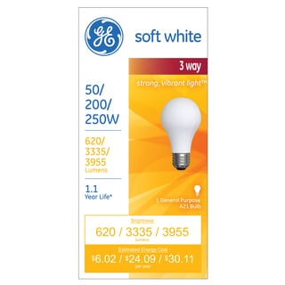 GE Lighting 97482 3 Way 50 200 250 Incandescent Light Bulb Soft White