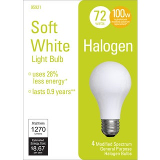 GE Lighting 95921 100 Watt Soft White A19 General Purpose Bulb 4-count