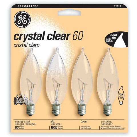 GE Lighting 76239 4 Pack 60 Watt Crystal Clear Candle Shaped Candelabra Bulbs