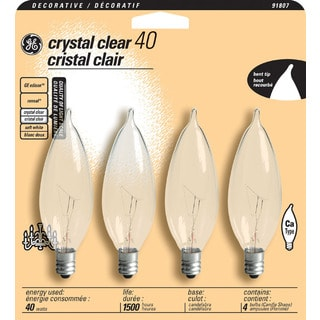 GE Lighting 76237 40 Watt Clear Bent Tip Light Bulb 4-count