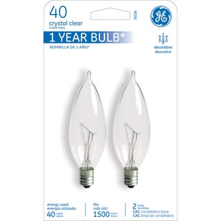 GE Lighting 76236 40 Watt Clear Candelabra Incandescent Light Bulb 2-count