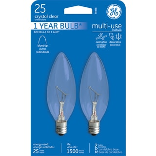 GE Lighting 74978 25 Watt Inside Frost Candelabra Incandescent Light Bulb