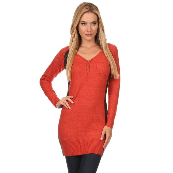 High Secret Women's Knit Block Color Fitted Tunic Sweater - Free ...