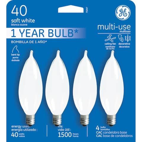 GE Lighting 75247 40 Watt Soft White Candelabra Incandescent Light Bulb 4 Coun
