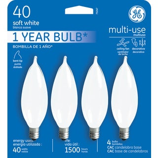 GE Lighting 75247 40 Watt Soft White Candelabra Incandescent Light Bulb 4 Coun