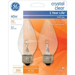 GE Lighting 75341 40 Watt Clear Flame Bulb 2-count