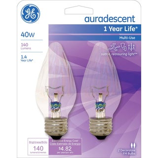 GE Lighting 75343 40 Watt Auradescent Flame Bulb 2-count