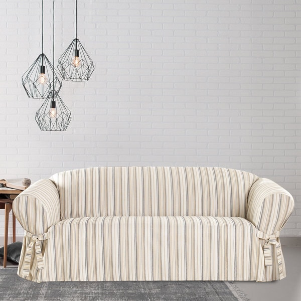 Sure Fit Harbor Stripe Sofa Slipcover With Ties