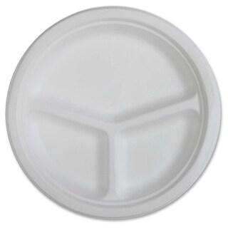 Genuine Joe 3-Compartment Disposable Plates - (50/Pack)
