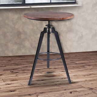 Armen Living Tribeca Pub Table in Industrial Gray Finish with Pine Wood Tabletop