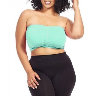 Dinamit Women's Plus Size Mint Green Seamless Padded Bandeau Top