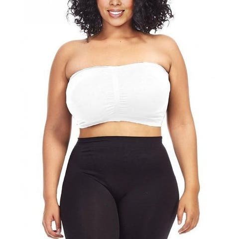 c528849fc9ba7 Dinamit Women s Plus Size White Seamless Padded Bandeau Top
