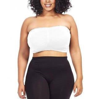 Dinamit Women's Plus Size White Seamless Padded Bandeau Top|https://ak1.ostkcdn.com/images/products/11642649/P18575244.jpg?impolicy=medium