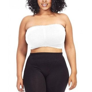 Dinamit Women's Plus Size White Seamless Padded Bandeau Top (2 options available)