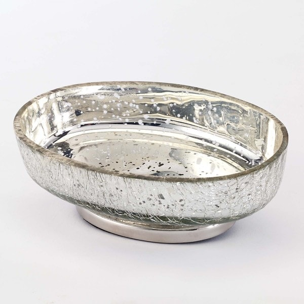 Mercury glass crackle silver soap dish free shipping on for Silver crackle bathroom accessories