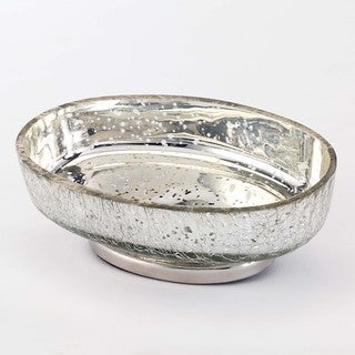 Mercury Glass Crackle Silver Soap Dish