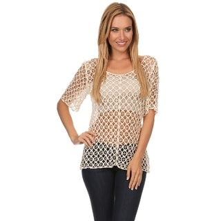 High Secret Women's Short Sleeve Crochet Top
