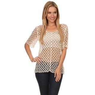High Secret Women's Short Sleeve Crochet Top|https://ak1.ostkcdn.com/images/products/11642658/P18575111.jpg?impolicy=medium