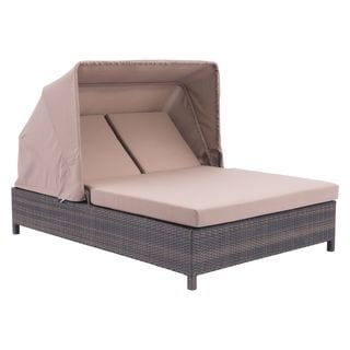 Siesta Key Double Brown Sunproof Wicker and Fabric Chaise Lounge