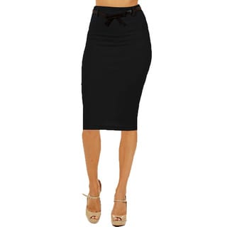 Women's Black High Waist Below Knee Pencil Skirt (Pack of 2)