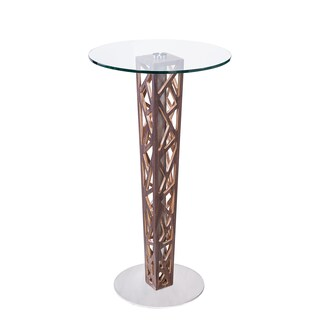 Armen Living Crystal Bar Table with Clear Tempered Glass Top