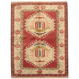 Herat Oriental Turkish Hand-knotted Kazak Red/ Ivory Wool Rug (5'7 x 7'2)