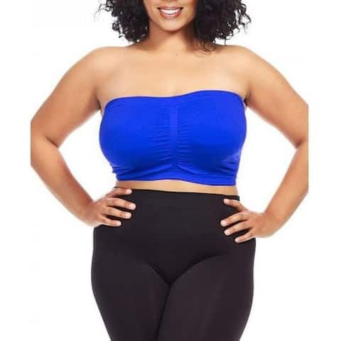 Dinamit Women's Plus Size Blue Seamless Padded Bandeau Top