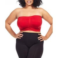 Dinamit Women's Plus Size Red Seamless Padded Bandeau Top