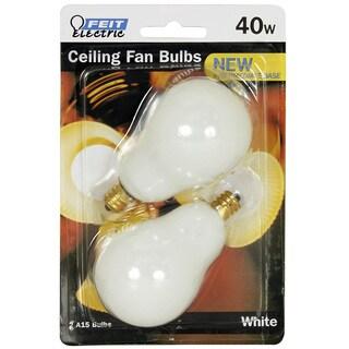 Feit Electric BP40A15C/W/CF 40 Watt White Ceiling Fan Light Bulb 2-count