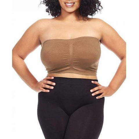 Dinamit Women's Plus Size Light Brown Seamless Padded Bandeau Top