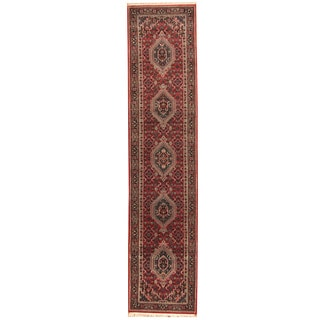 Herat Oriental Indo Hand-knotted Bidjar Red/ Navy Wool Runner (2'9 x 12')