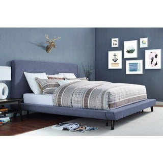 Nixon Blue Linen Upholstered Bed Frame