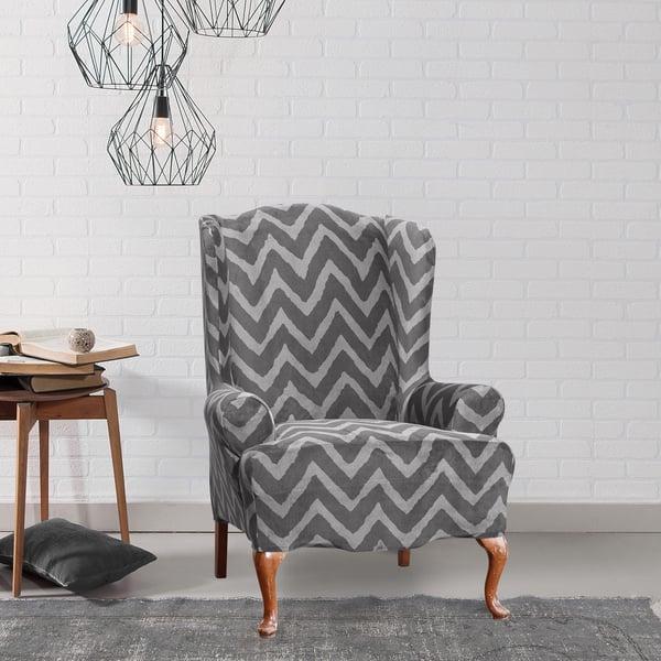 Marvelous Shop Sure Fit Stretch Plush Chevron Wing Chair Cover Free Machost Co Dining Chair Design Ideas Machostcouk