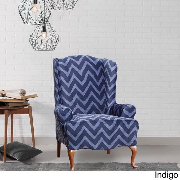 Tremendous Shop Sure Fit Stretch Plush Chevron Wing Chair Cover Free Machost Co Dining Chair Design Ideas Machostcouk