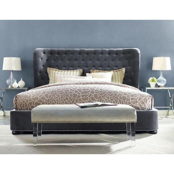 finley grey velvet tufted bed frame - Velvet Bed Frame