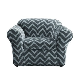 Sure Fit Stretch Plush Chevron 2 Piece Stretch Chair Cover