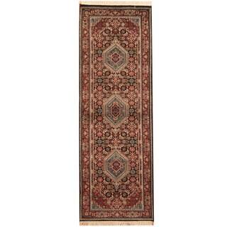 Herat Oriental Indo Hand-knotted Bidjar Navy/ Red Wool Runner (2'7 x 7'8)