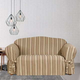 Sure Fit Harbor Stripe Loveseat Slipcover with Ties