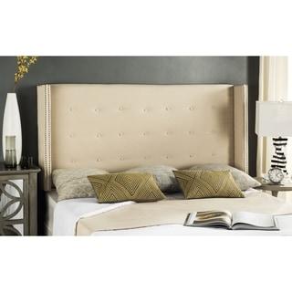 Safavieh Keegan Linen Upholstered Parchment Wingback Headboard (Queen)