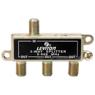 "Leviton 000-40987-002 2.9"" Gold Plated 3-Way Coax Splitter"